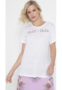 "Camiseta ""Colcci® By Colcci®""- Branca & Pink- Colccicolcci"