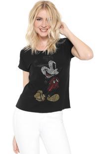 Blusa Cativa Disney Mickey Hotfix Preta