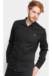 Camisa Triton Manga Longa Comfort Elastano Masculina - Masculino-Preto