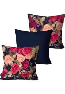 Kit Com 3 Capas Para Almofadas Pump Up Decorativas Marinho Dark And Flowers 45X45Cm
