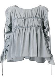 Carven Blusa Com Franzido - Cinza