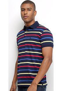 Camisa Polo Aleatory Listrada Fio Tinto Masculina - Masculino-Marinho+Vermelho