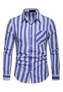 Camisa Masculina Com Listras Verticais Manga Longa - Azul