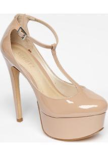 Sapato Meia Pata Envernizado- Nude- Salto: 14Cmschutz