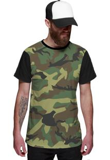 Camiseta Di Nuevo Exército Camuflada Brasileira Preta
