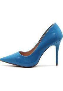 Scarpin Royalz Verniz Salto Alto Fino Penã©Lope Macau Azul - Azul - Feminino - Verniz - Dafiti