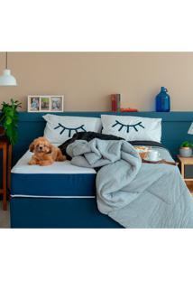Cama Box Click Casal Com Colchão Firme E Travesseiro Guldi Macio (39X138X188) Azul