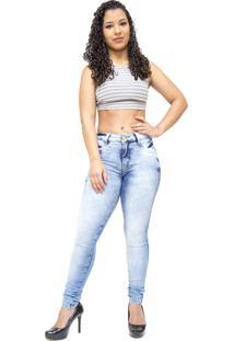 5ddeef41a ... Calça Jeans Deerf Jeans Manchada Skinny Otavia Azul