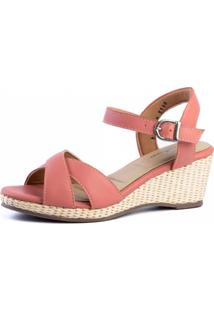 309debdd34 Dafiti. Sandália Couro Doctor Shoes Anabela 613 Tiras Coral