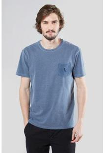Camiseta Bolso Gota Pica-Pau Bordado Reserva Masculina - Masculino-Azul