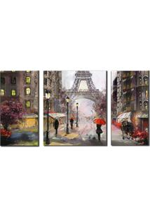 Quadros Decorativos Paris Torre Eiffel 3 Peã§As - Marrom - Dafiti