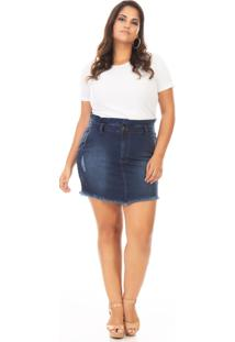 Saia Curta Jeans Tradicional Plus Size - Tricae