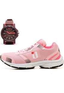 Kit Tênis Fitness Feminino Caminhada + Relógio - Feminino-Rosa