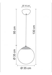 Pendente Cúpula Vidro Redondo 35Cm Esphera Madelustre Branco