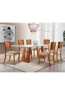 Conjunto De Mesa De Jantar Com 6 Cadeiras Escócia Veludo Veludo Off White E Bege 180 Cm