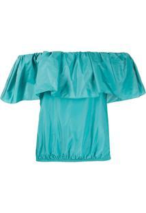 Pinko Blusa Com Babados - Azul