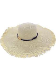 Chapéu Sombrero Alma De Praia De Palha Com Aba Franjada - Feminino