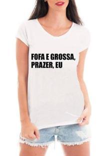 Blusa Criativa Urbana Prazer Eu T-Shirt Feminina - Feminino-Branco