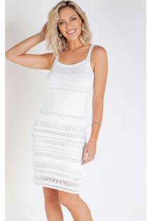 Vestido Em Tricô Brancocom Fios Metalizados
