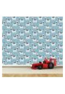 Papel De Parede Adesivo - Zebras - Infantil - Azul - 181Ppi