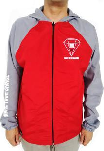 Blusa Corta Vento Raglan Make One18 Vermelho