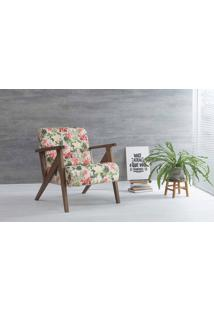 Poltrona Decorativa Para Sala Anis Verniz Capuccino Tec.S1860 Floral 72X76X85 Cm