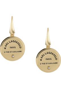 Karl Lagerfeld Par De Brincos De Medalhão Com Logo - Dourado