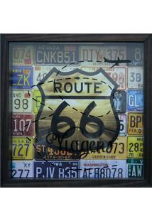 Quadro Porta Ticket Viagens Route 27X27X4Cm-Kapos - Betume