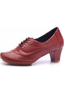 Sapato Couro Doctor Shoes 790 Pespontos Morango