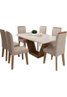 Conjunto Mesa De Jantar Diamante Off-White 1,70X0,90 C/ 6 Cadeiras Rv Mã³Veis - Off White - Dafiti