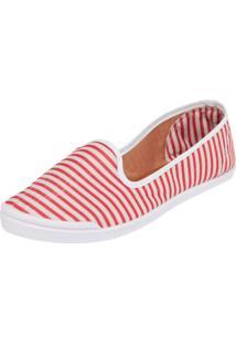 Slipper Fiveblu Listras Branco/Vermelho