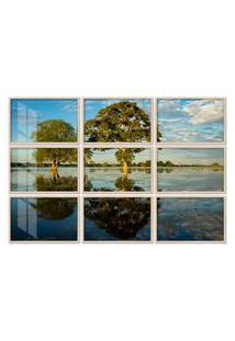 Quadro 90X120Cm Painel Paisagem Pantanal Brasil Moldura Natural Com Vidro