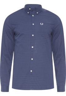 Camisa Masculina Tonal Gingham - Azul