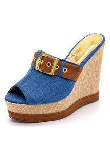 Anabela Tamanco Salto Alto Confortavel Azul Jeans