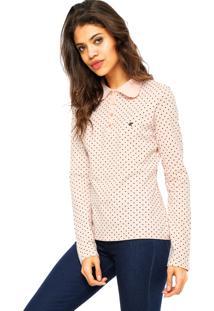 Camisa Polo Manga Longa Malwee Poá Rosa