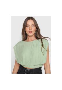Blusa Cropped Colcci Pontos Verde