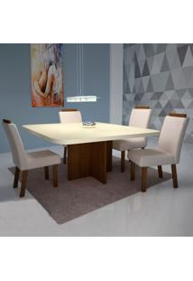 Mesa De Jantar Corona 90Cm Com Vidro Offwhite + 4 Cadeiras Corona Tecido 831 - Amêndoa
