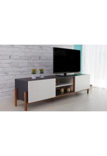 Rack Tv Preto Moderno Vintage Retrô Com 2 Portas Branca Eric - 186X43,6X48,5 Cm
