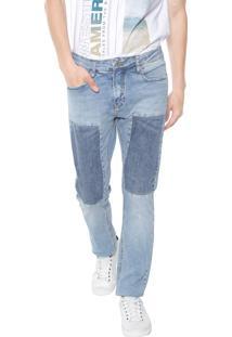 Calça Jeans Calvin Klein Jeans Slim Recortes Azul