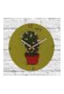 Relógio De Parede Cacto Verde Vidro 30X30Cm Decorativo