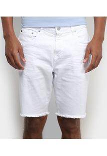 Shorts Jeans Calvin Klein Barra Desfiada Masculino - Masculino-Branco