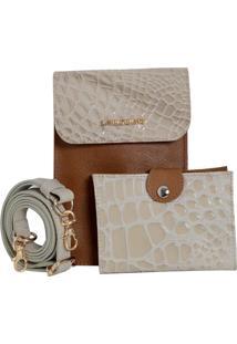 Bolsa Laura Prado Carteira Couro Caramelo/Marfim
