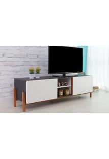Rack Tv Preto Moderno Vintage Retrô Com 2 Portas Branca Eric - 166X43,6X48,5 Cm