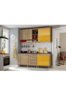 Cozinha Modulada Multimóveis Sicília 05 8 Portas E 3 Gavetas - Argila/Lacca Amarelo