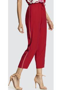 Calça Tecido Rayon Twill Vermelho