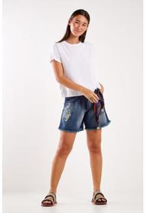 Bermuda Jeans Reserva Lateral Sacada Feminina - Feminino-Azul