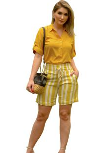 Camisa Mamorena Manga 3/4 Martingale Amarelo