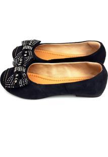 Sapatilha Love Shoes Bico Redondo Camurça Laço Strass Preto