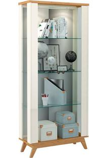Cristaleira C701L 2 Portas Com Led Off White / Freijó