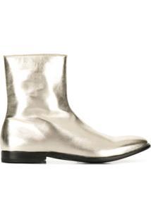 Alexander Mcqueen Ankle Boot Metálica De Couro - Dourado